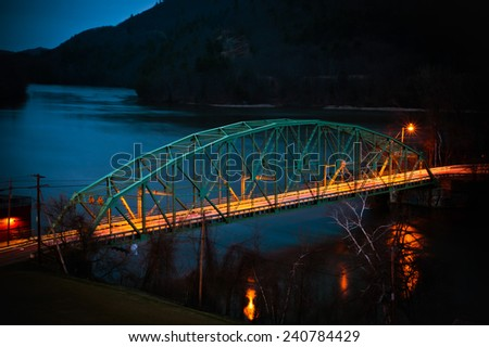 bridge at dusk - stock photo