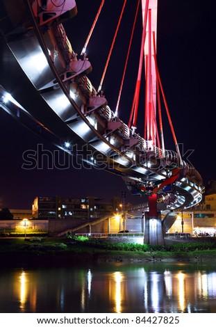 bridge at night in Taipei - stock photo