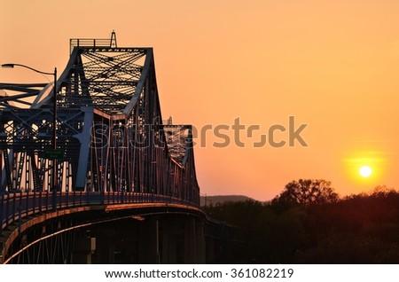 Bridge at Sunset in La Crosse, Wisconsin - stock photo