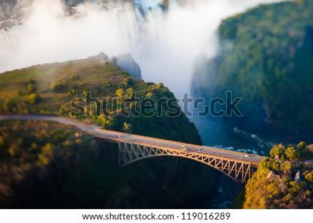 Bridge at Victoria Falls, a bungee-jumping hot spot - stock photo