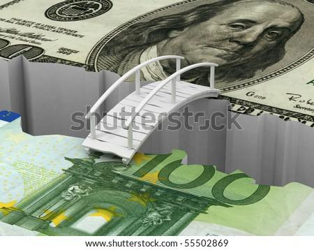 bridge between euro and dollar. 3d - stock photo