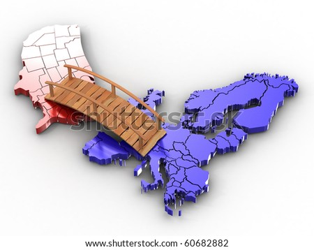 Bridge between europe and usa. 3d - stock photo