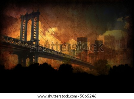 Bridge, city and clouds - stock photo