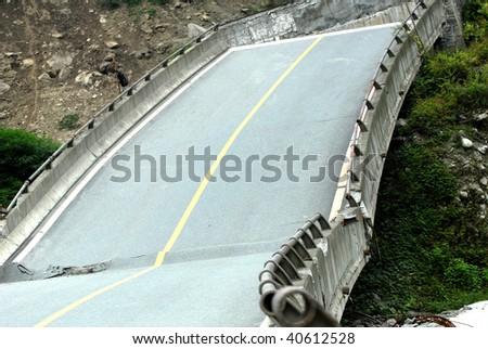Bridge collapse - stock photo