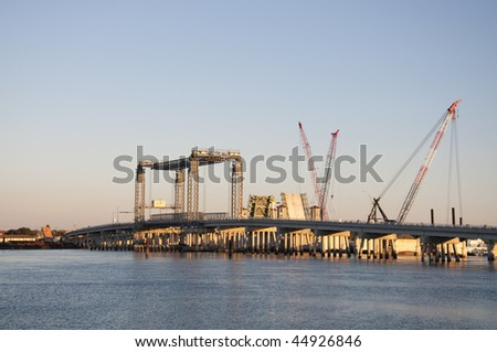 Bridge Construction in St. Augustine, Florida at dusk. - stock photo