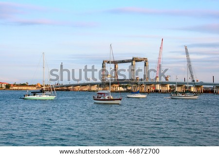 Bridge construction in St. Augustine, Florida, USA - stock photo