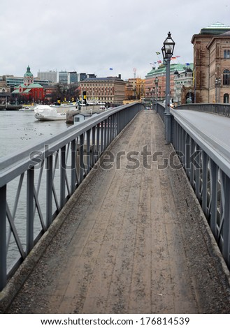 Bridge from Skeppsholmen island connecting to the city centre in Stockholm, Sweden - stock photo