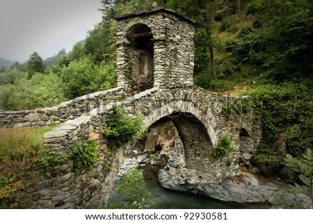 bridge from the Middle Ages in Italy - stock photo