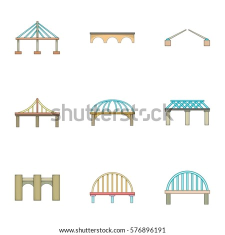 Bridge icons set. Cartoon illustration of 9 bridge  icons for web