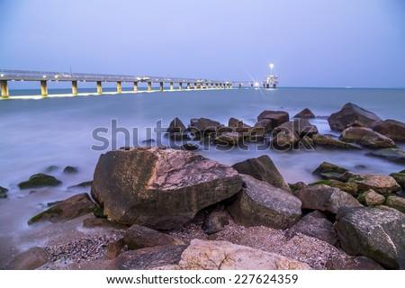 Bridge in Burgas at night - stock photo