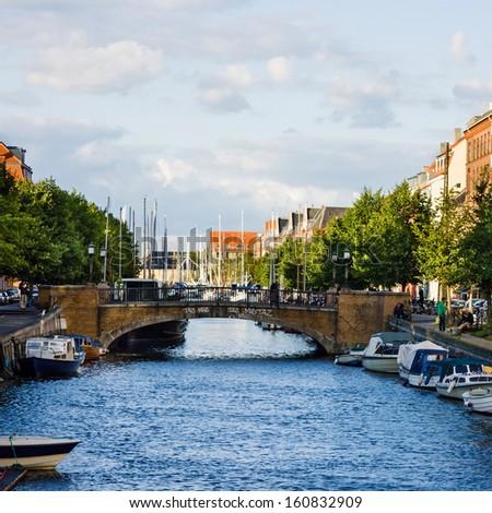 Bridge in center of Copenhagen, Denmark. - stock photo