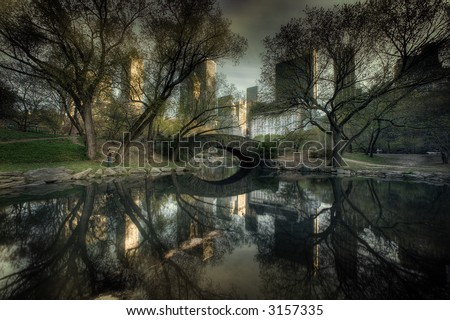 Bridge in Central Park, New York City,Manhattan,United states of  America - stock photo
