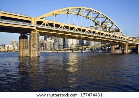 Bridge in Downtown Pittsburgh, Pennsylvania. - stock photo