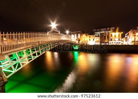 Bridge in Dublin at night, Ireland - stock photo
