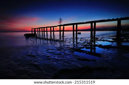 bridge in evening - stock photo