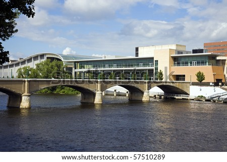 Bridge in Grand Rapids, Michigan, USA. - stock photo