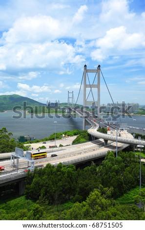 Bridge in Hong Kong, Tsing Ma Bridge - stock photo