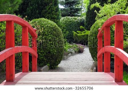 Bridge in Japanese garden - stock photo