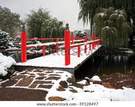 Bridge in Japanese garden near Normandale college in the city of Bloomington Minnesota - stock photo