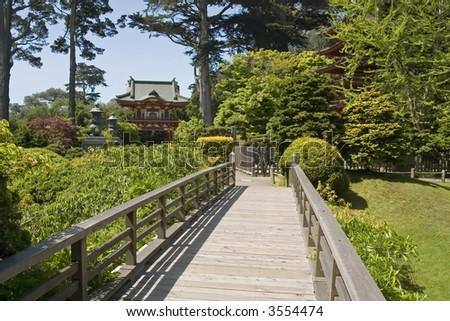 bridge in Japanese tea House in Golden Gate Park, San Francisco California - stock photo