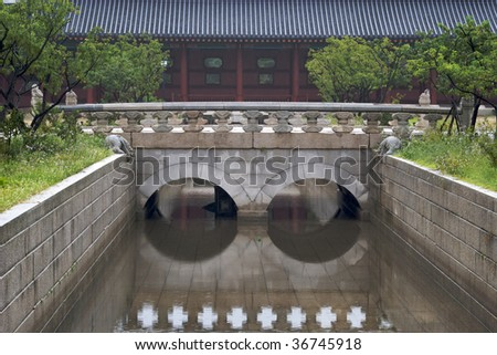 Bridge in old Korean park, Seoul, Korea - stock photo
