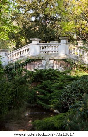 Bridge in Parc Monceau - stock photo