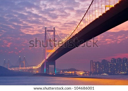 bridge in sunset , under view - stock photo