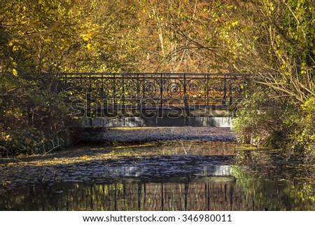 Bridge in the Park in colorful autumn. Seen are the tree with autumn foliage and the reflection in the water. - stock photo