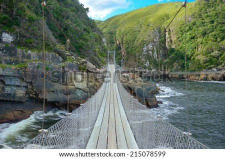 Bridge in Tsitsikamma national park, Garden route, South Africa  - stock photo