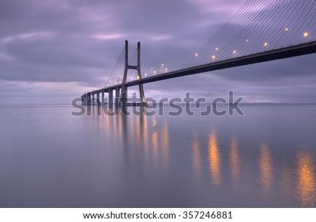 Bridge lights , Bridge range of Vasco, Lisbon, Portugal - stock photo