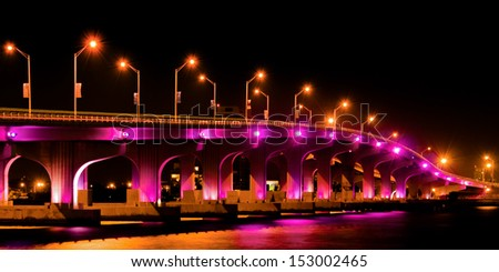 Bridge lit up at night, Miami, Miami-Dade County, Florida, USA