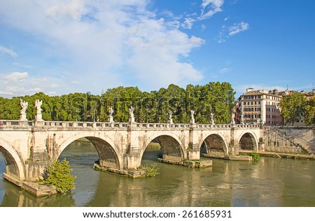 Bridge nearby Castel del Angelo in Rome - stock photo