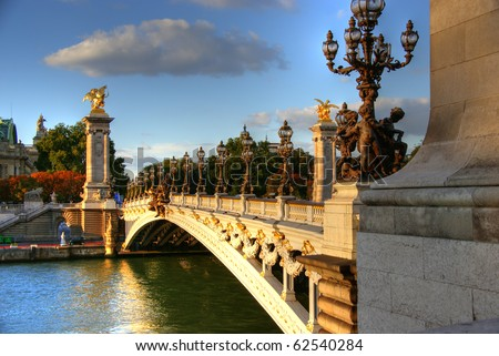 Bridge of Alexandre III in Paris  HDR - stock photo