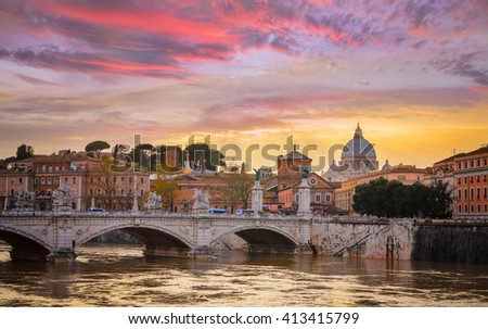 Bridge of Angles, Tiber and St Peter Basilica in Vatican, Rome, Italy - stock photo