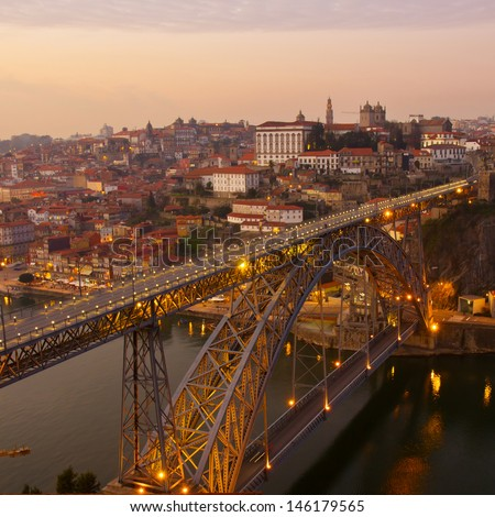 bridge of Dom Luis I in old Porto constructed in 1886 by T�©ophile Seyrig , Portugal - stock photo