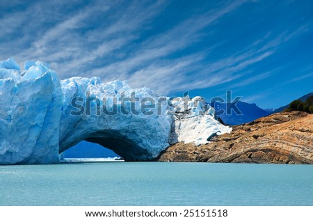 Bridge of ice in Perito Moreno glacier, patagonia, Argentina. - stock photo