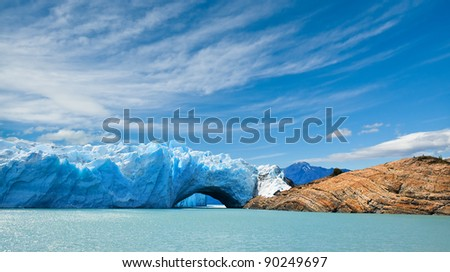 Bridge of ice in Perito Moreno glacier, patagonia, Argentina. Copy space. - stock photo