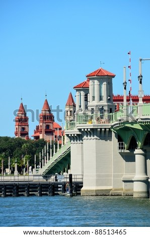 bridge of lions at historic st augustine florida usa - stock photo