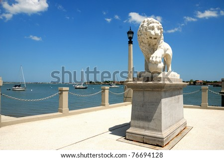 Bridge of Lions named for two lion statues at the west end of the bridge, historic st. augustine florida usa - stock photo
