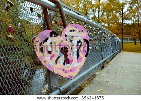 Bridge of Love with locks - stock photo