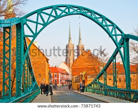 Bridge of lovers and cathedral in Wroclaw, Poland - stock photo