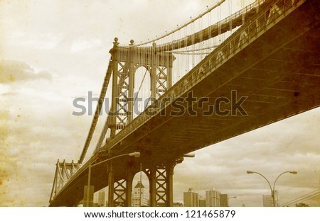 Bridge of New York City, U.S.A. - vintage paper textures. - stock photo