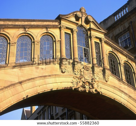 Bridge of Sighs at Hertford College in Oxford, England. Across New College Lane. (Copy of Venice original) - stock photo