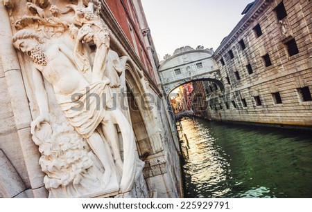 Bridge of Sighs before the sunset, Venice,Italy - stock photo