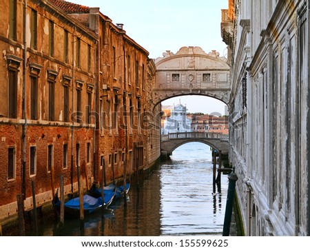 Bridge of Sighs  is over the Rio di Palazzo and connects the New Prison to the interrogation rooms in the Doge's Palace, Venice, Italy. - stock photo