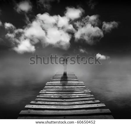 Bridge of the dream (conceptual surreal style) - stock photo