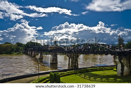 Bridge of the Kwai river.Thailand - stock photo