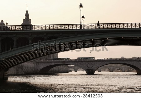 Bridge of the Seine to the Isle de la Cite, central Paris