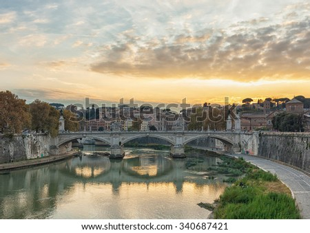 Bridge of Vittorio Emmanuel II on Tiber River and St.Peter's Basilica, Rome Italy.