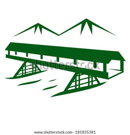 bridge on a background of mountains - stock photo